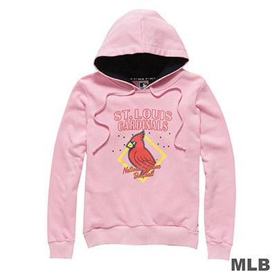 MLB-聖路易紅雀隊卡通印花連帽長袖厚T恤-粉紅-女