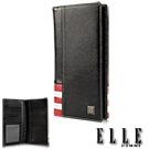 ELLE HOMME 法式紅白黑系列-18卡窗格對開雙層鈔票設計真皮長夾- 黑色