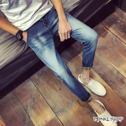小猴子的賣場 韓版顯瘦款刷白小腳修身單寧牛仔褲