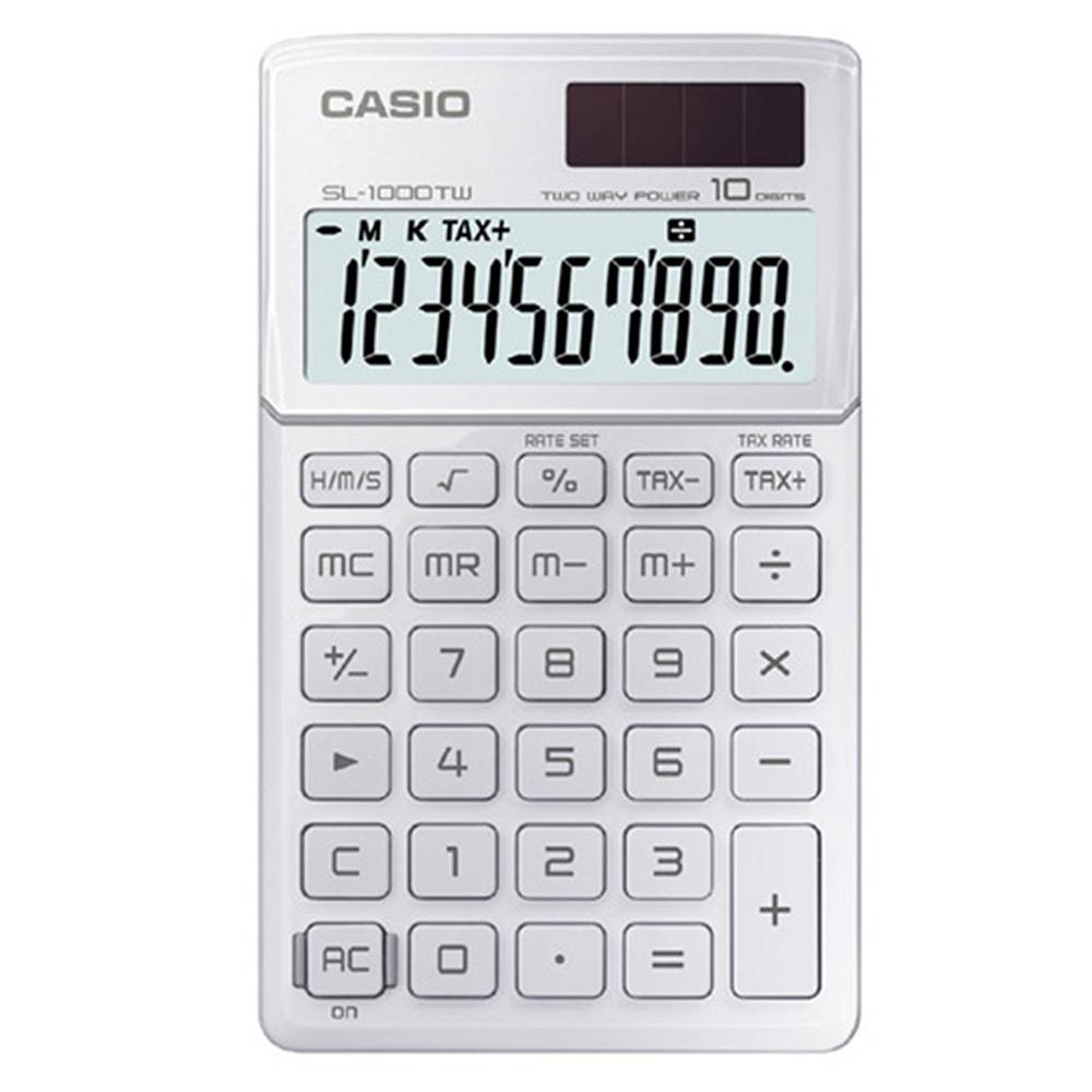 CASIO 10位元Stylish閃耀金屬光攜帶型計算機(瑩雪白)SL-1000TW-WE
