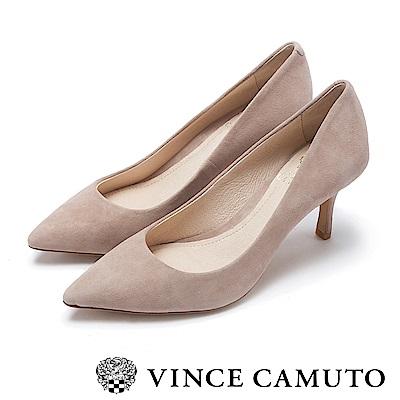 Vince Camuto 真皮質感尖頭中跟鞋-絨粉