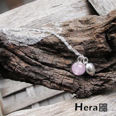 Hera 925純銀手作天然粉晶花苞項鍊/鎖骨鍊