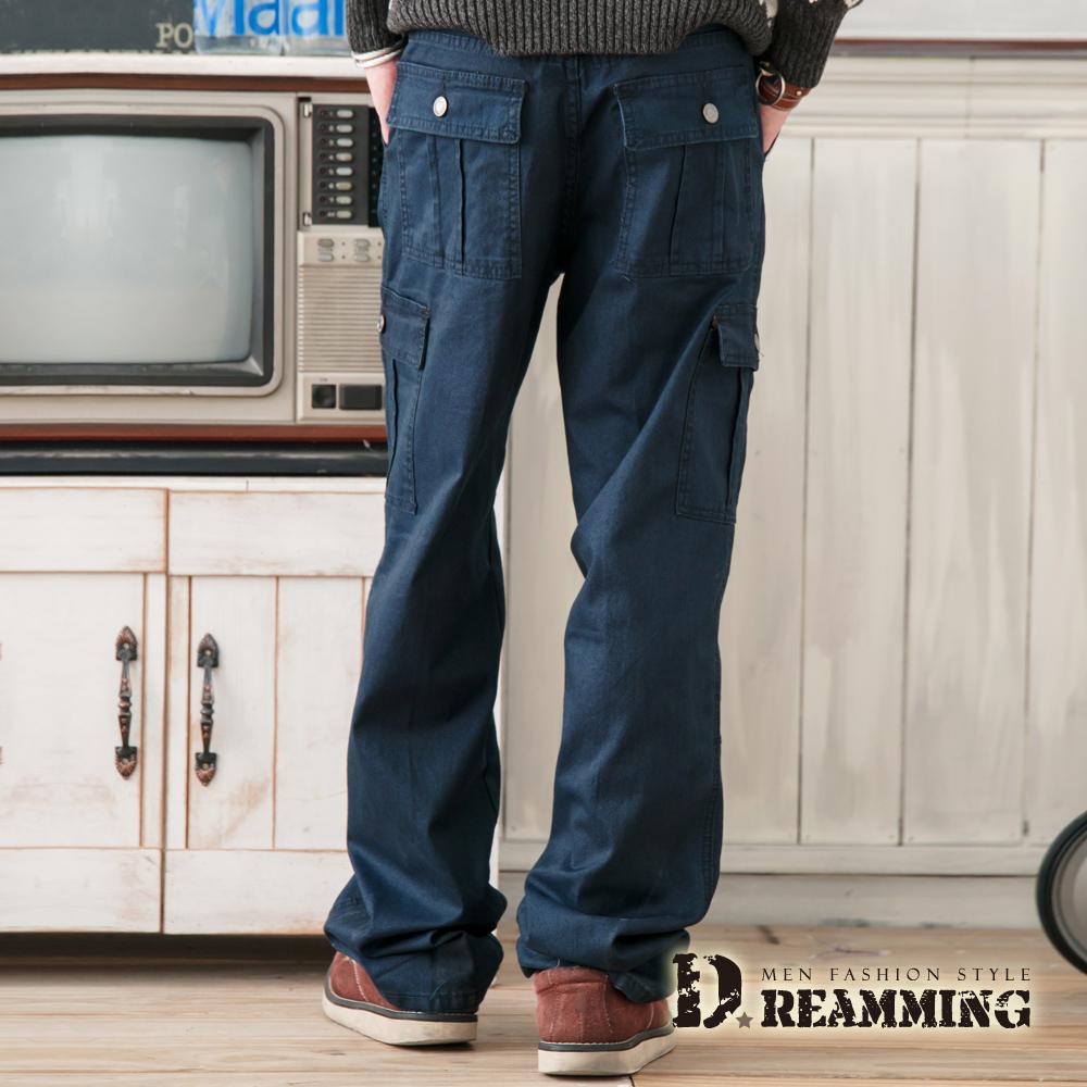 Dreamming 多口袋斜紋布光澤伸縮休閒長褲-藍色