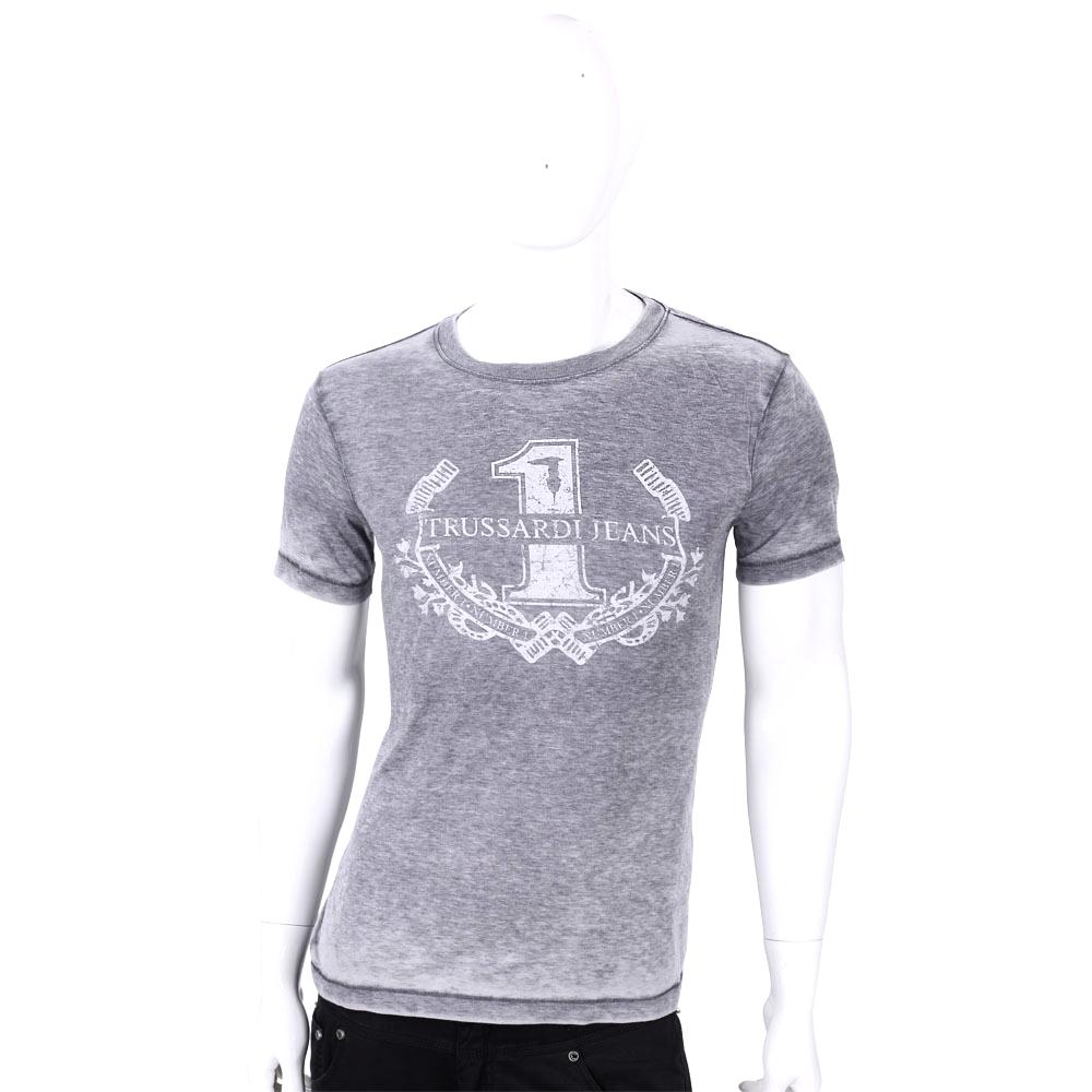 TRUSSARDI 灰色圖騰印花刷色棉質短袖T恤
