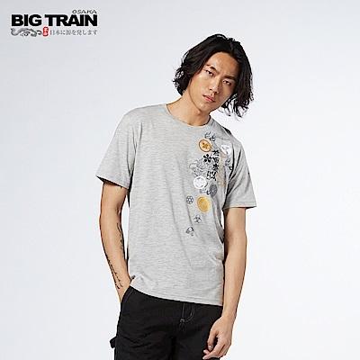BIG TRAIN 龍之前田慶次圓領短袖-男-麻灰