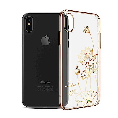 Kingxbar iPhone X Swarovski 保護殼- 蓮花-香檳金
