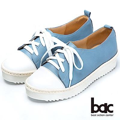 bac舒適鞋墊-撞色綁帶後切軟底包鞋-藍色