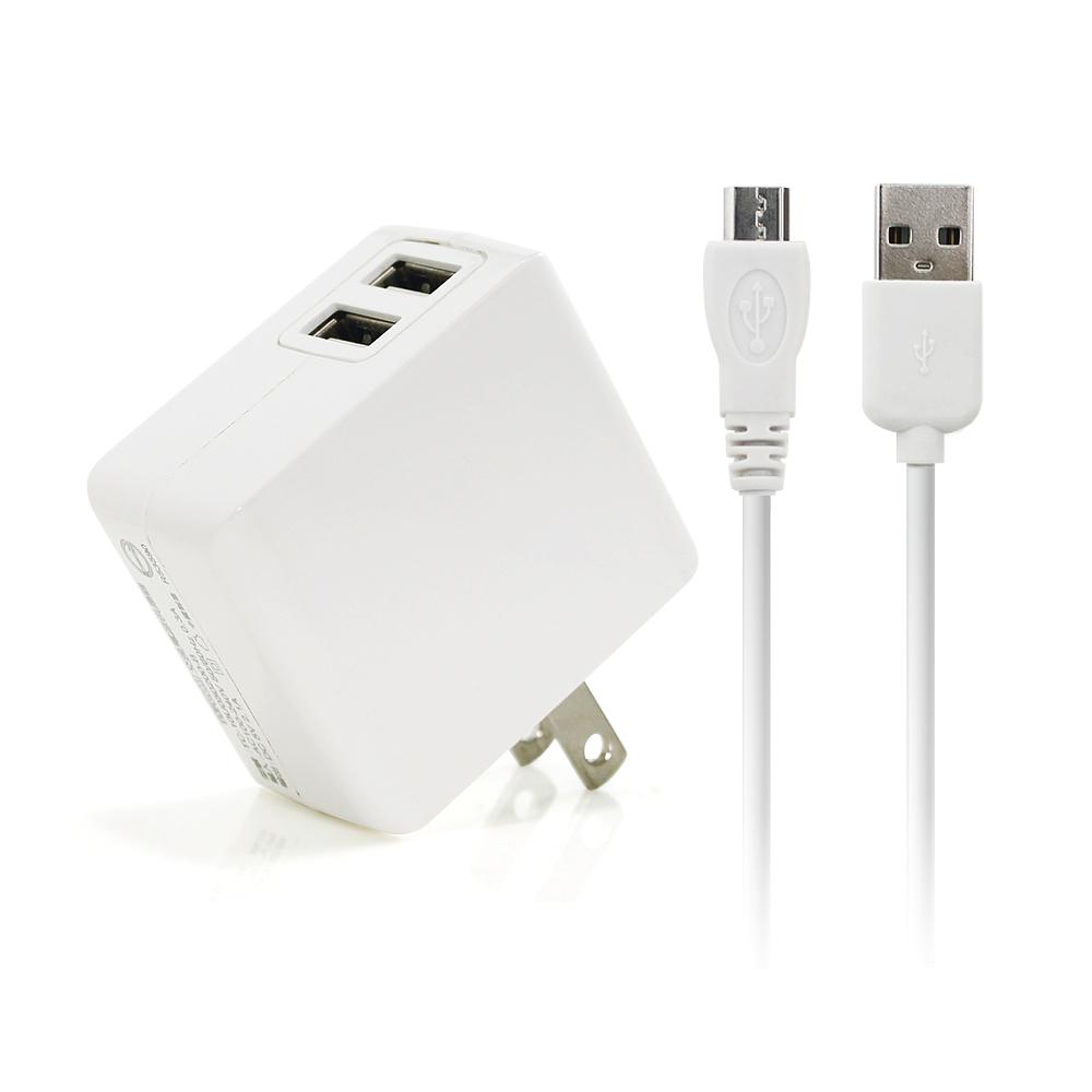 TOPCOM 2.1A 雙USB旅充+ MICRO USB傳輸充電線