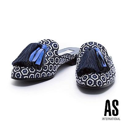 拖鞋 AS 復古魅力大流蘇點綴撞色幾何布平底拖鞋-藍