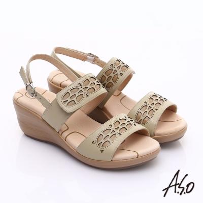 A.S.O 挺麗氣墊 全真皮寬楦鏤空氣墊楔型涼鞋 卡其