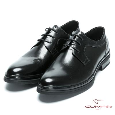 CUMAR 休閒皮鞋底 精選胎牛皮綁帶皮鞋-黑胎牛