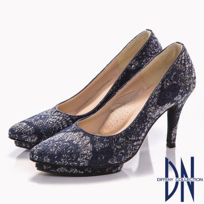 DN-幸福婚鞋-MIT-浪漫蕾絲尖頭高跟鞋-藍