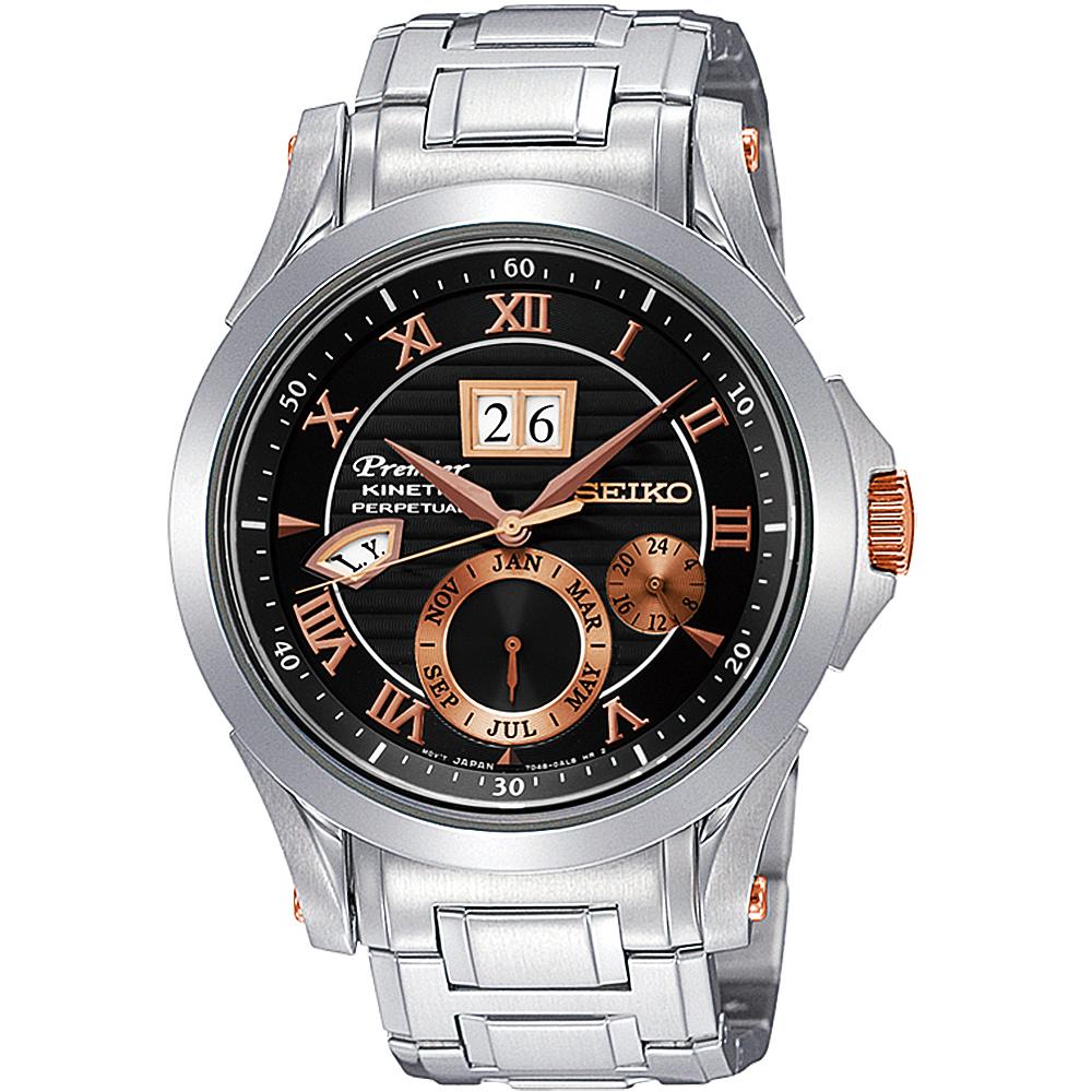 SEIKO Kinetic 專業萬年曆大視窗腕錶(SNP062J1)-黑/42mm