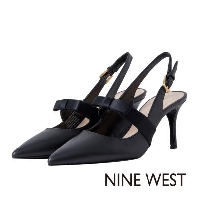 NINE-WEST-蝴蝶結後拉帶高跟鞋-質感黑