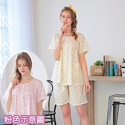 睡衣 精梳棉小碎花平織短袖兩件式睡衣(R77020-2夢幻粉) 蕾妮塔塔