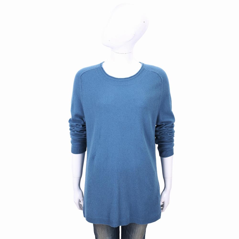 ALLUDE 100%喀什米爾鋼藍色圓領針織羊毛衫