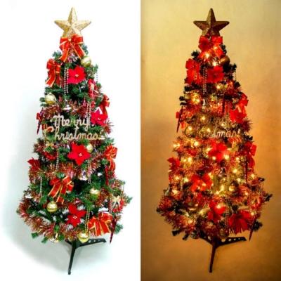 超級幸福10尺(300cm)一般型裝飾綠聖誕樹(+紅金色系配件組+100燈鎢絲樹燈7串)