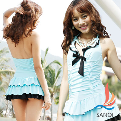 SANQI三奇 亮彩情懷 一件式連身泳衣(藍)