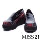 休閒鞋 MISS 21 亮澤皮革拼接格子布厚底休閒鞋-格紋 product thumbnail 1