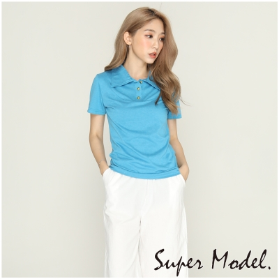 純色簡約金扣素色POLO衫-藍色(F可選)    名模衣櫃