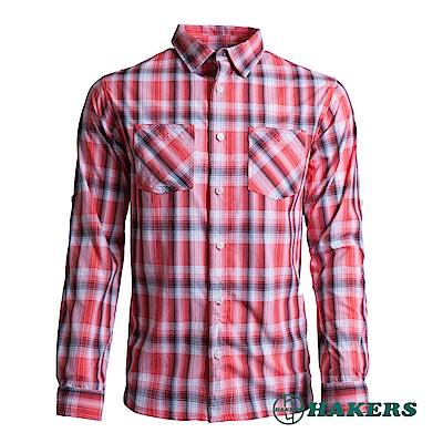 【HAKERS 】男-長袖格紋襯衫-紅格
