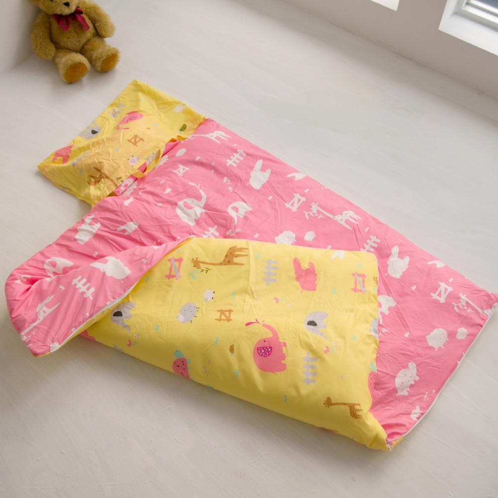 cheri 動物樂園-粉 舖棉兩用小睡袋