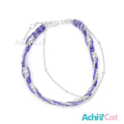 AchiCat 蠶絲蠟繩手鍊 925純銀 幸運纏繞