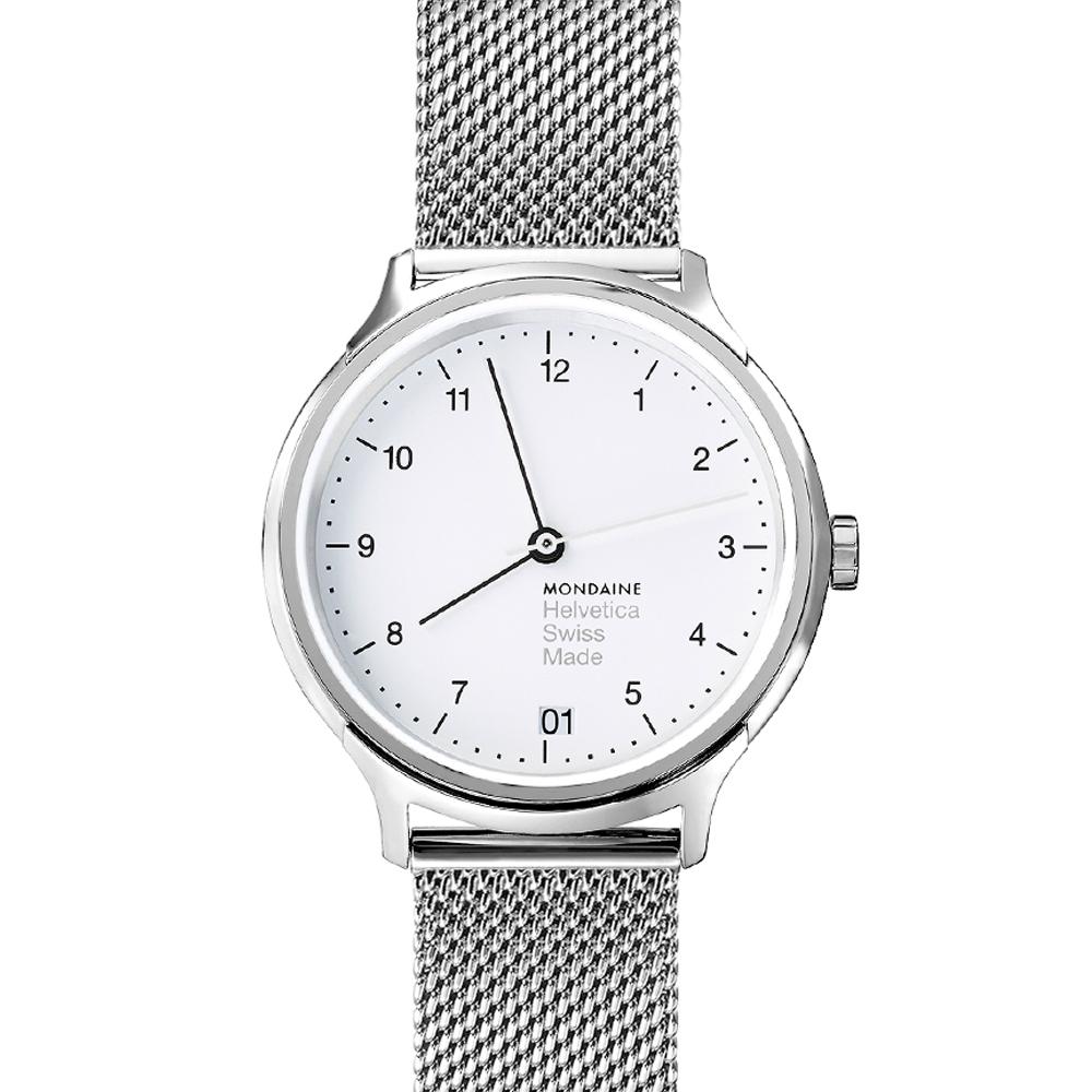 MONDAINE 瑞士國鐵Helvetica 聯名腕錶-白x米蘭錶帶版/33mm