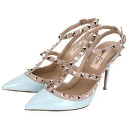 VALENTINO ROCKSTUD 漆皮鉚釘繫帶高跟鞋(水藍x粉色)