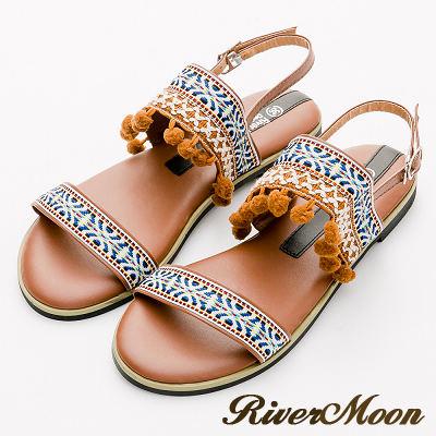 River&Moon大尺碼-寬版圖騰球球一字Q軟底涼鞋-棕