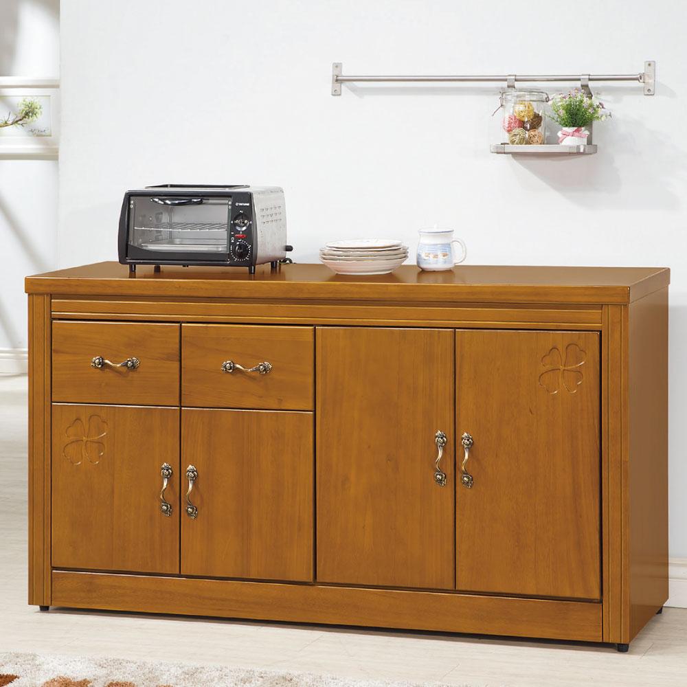 品家居 葉秋5尺紐松柚木色餐櫃下座-150x45x83cm-免組
