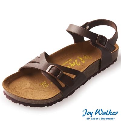 Joy Walker 繽紛色彩一片式平底涼鞋*深咖啡