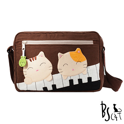 ABS貝斯貓 可愛貓咪拼布 側背包 肩背包 (咖) 88-201