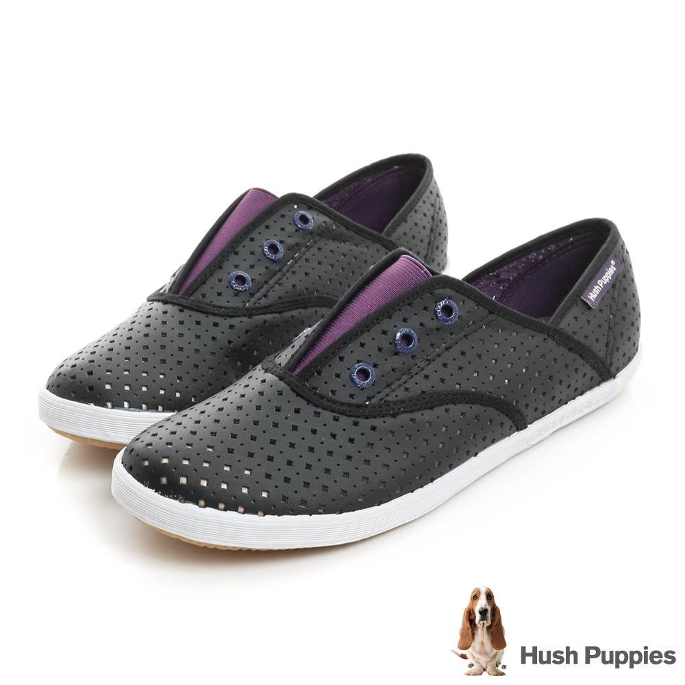 Hush Puppies 涼感沖孔咖啡紗皮質懶人帆布鞋-黑/紫