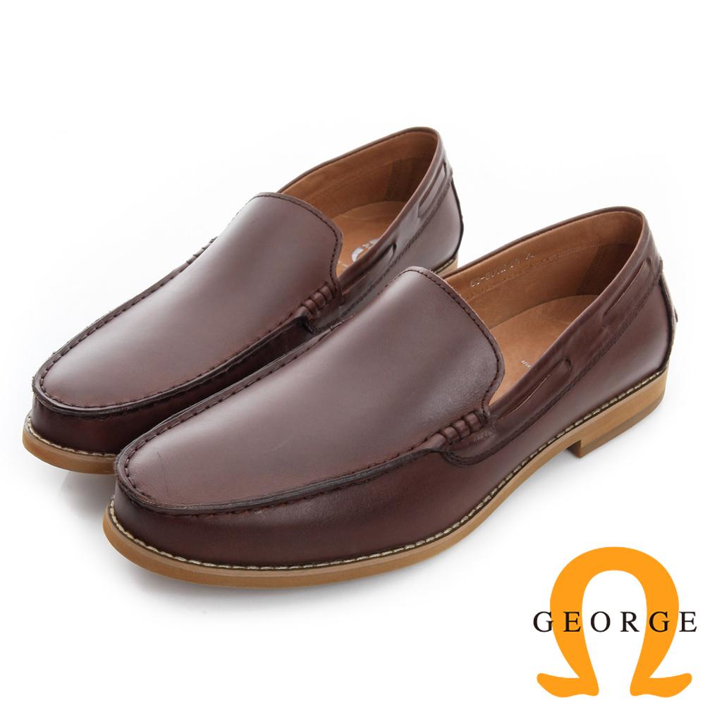 GEORGE 喬治-素面縫線真皮樂福休閒鞋-咖啡色