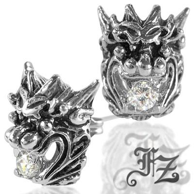 FZ 潮系戰龍鋯石白鋼耳環