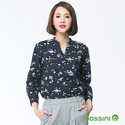 bossini女裝-七分袖造型襯衫03海軍藍