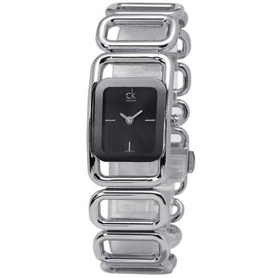 cK Section 時尚名媛鏤空手鏈式腕錶-黑/21mm