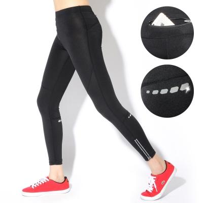 運動褲-機能舒適反光條壓縮慢跑褲-S-XL