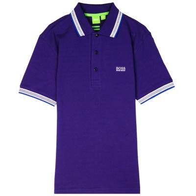HUGO BOSS 綠標滾邊線素面POLO男衫(紫)