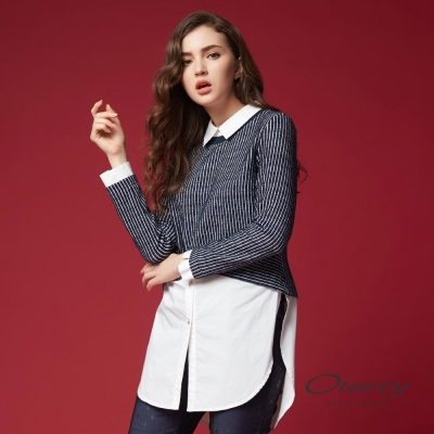 OUWEY歐薇 率性鑲蔥條紋長版上衣(藍)