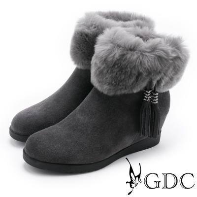 GDC-流蘇毛毛真皮短靴-灰色