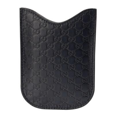 GUCCI 經典GG壓紋質感牛皮手機保護套(深藍)