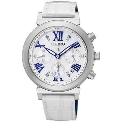 SEIKO 精工 LUKIA 太陽能羅馬計時碼錶(SSC849J1)-銀x白錶帶/36mm