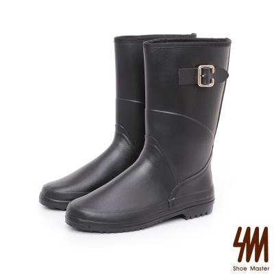 SM-防水輕系列-皮感中筒低跟平底雨鞋-黑色