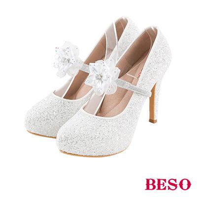 BESO 綻放幸福 3way可拆式紗鑽花飾踝戴婚鞋~白