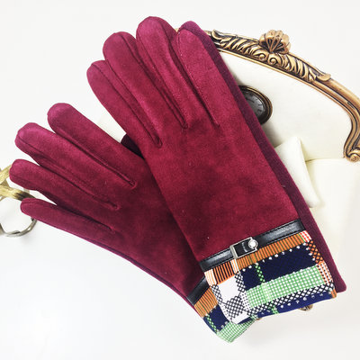 ACUBY-二指觸控時尚隨機隔紋手套-酒紅