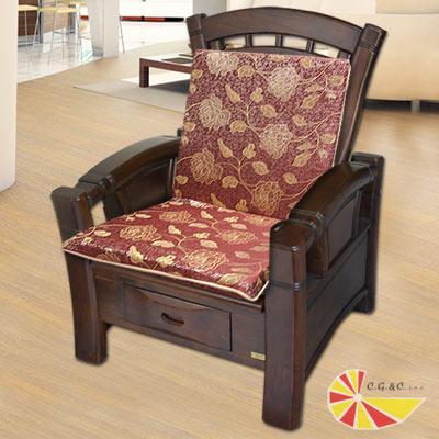 【凱蕾絲帝】木椅通~高支撐加厚玫瑰連體L型坐墊(4入)紅
