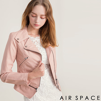 AIR SPACE 2WAY鉚釘拉鏈短版騎士皮衣外套(粉紅)