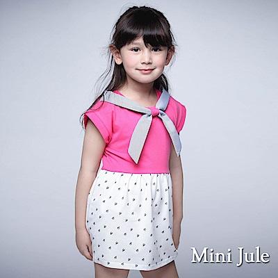 Mini Jule 童裝-洋裝 帆船印花條紋綁帶連袖洋裝(桃紅)